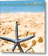 Starfish On Algarve Beach Portugal Metal Print