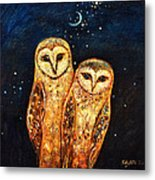 Starlight Owls Metal Print by Shijun Munns