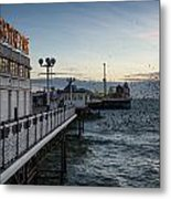 Starling Murmuration Over Brighton Pier In England Metal Print