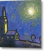 Starry Church Metal Print by Pixel Chimp
