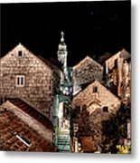 Starry Night Above The Rooftops Of Korcula Metal Print