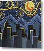 Starry Night Cityscape Metal Print