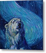 Starry Night Van Gogh Bear Metal Print