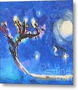 Starry Tree Metal Print by Pixel  Chimp
