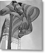 Stars And Stripes And 1 W T C In Black And White Metal Print