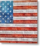 Stars And Stripes With States Metal Print