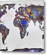 Stars World Map Metal Print