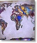 Stars World Map Space Metal Print