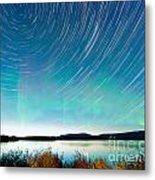 Startrails Aurora Borealis Display Lake Laberge Metal Print