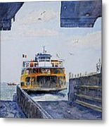 Staten Island Ferry Docking Metal Print by Anthony Butera