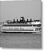 Staten Island Ferry In Black And White Metal Print