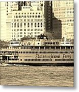 Staten Island Ferry In Sepia Metal Print