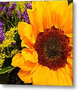 Statice And Sunflower Metal Print