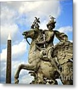 Statue . Place De La Concorde. Paris. France Metal Print by Bernard Jaubert