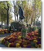 Statue And Flower Bed Across The Street From The Grand Palais Off Of Champs Elysees Metal Print