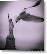 Statue And Seagull  Metal Print