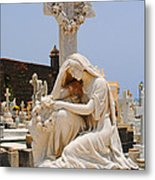 Statue Mourning Woman Metal Print