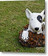 Statue Of A Dog Decorated On The Lawn Metal Print by Tosporn Preede