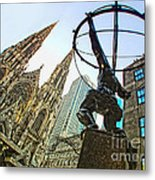 Statue Of Atlas Facing St.patrick's Cathedral Metal Print