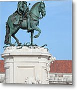 Statue Of King Jose I In Lisbon Metal Print