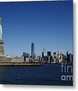 Statue Of Liberty And Manhattan Metal Print