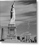 Statue Of Liberty And The Freedom Tower Metal Print