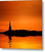 Statue Of Liberty At Sunset Metal Print by John Farnan