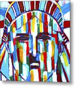 Statue Of Liberty With Colors Metal Print