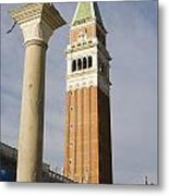 Statue Of Lion Of St. Mark And The San Marco Bell Tower Metal Print
