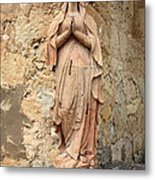Statue Of Mary In Mission Garden Metal Print