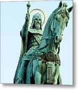 Statue Of Saint Stephen I - The First King Of Hungary In Budapes Metal Print