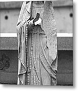 Statue Rosery Mary - Cemetery Sentry Metal Print