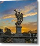 Statue With Cross Metal Print