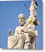 Statues Of Plato And Athena Metal Print