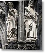 Statues Of The Aachen Cathedral Germany Metal Print