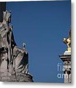 Statues On Pont Alexandre IIi Metal Print