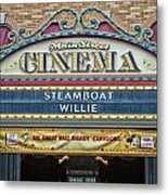 Steam Boat Willie Signage Main Street Disneyland 01 Metal Print