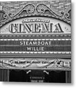 Steam Boat Willie Signage Main Street Disneyland Bw Metal Print
