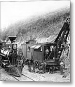 Steam Locomotive And Steam Shovel 1882 Metal Print by Daniel Hagerman