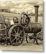 Steam Powered Tractor Sepia Metal Print