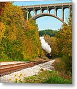Steam Train Rounding The Curve Metal Print