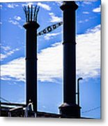Steamboat Smokestacks On The Natchez Steam Boat Metal Print