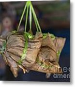 Steamed Food Parcels Metal Print