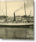 Steamer Eureka At Old Whaf Santa Cruz California Circa 1907 Metal Print