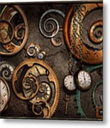 Steampunk - Abstract - Time Is Complicated Metal Print by Mike Savad