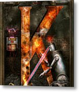 Steampunk - Alphabet - K Is For Killer Robots Metal Print