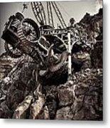 Steampunk Land Boring Machine At Disneysea Black And White Metal Print
