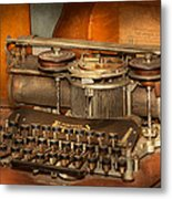 Steampunk - The History Of Typing Metal Print by Mike Savad