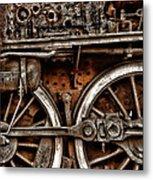 Steampunk- Wheels Locomotive Metal Print