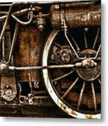 Steampunk- Wheels Of Vintage Steam Train Metal Print